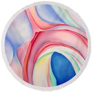 Round Beach Towel featuring the painting After Okeffee by Joshua Morton