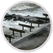Round Beach Towel featuring the photograph After Storm Sandy by Joan Reese