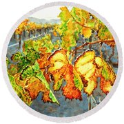 Round Beach Towel featuring the painting After The Harvest by Karen Ilari