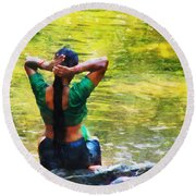 After The River Bathing. Indian Woman. Impressionism Round Beach Towel