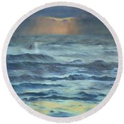 Round Beach Towel featuring the painting After The Storm by Lori Brackett