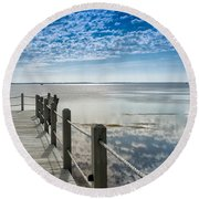 Afternoon At Currituck Sound Round Beach Towel