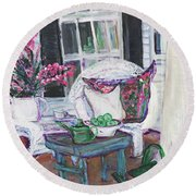 Afternoon At Emmaline's Front Porch Round Beach Towel