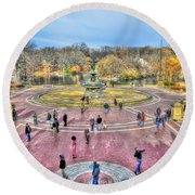 Afternoon At The Bethesda Fountain Round Beach Towel