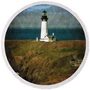 Afternoon At The Yaquina Head Lighthouse Round Beach Towel
