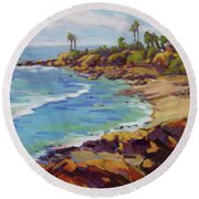 Afternoon Glow 2  Round Beach Towel