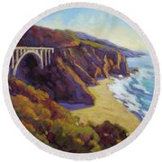 Afternoon Glow 3 Big Sur Round Beach Towel