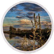 Late Afternoon In The Mead Wildlife Area Round Beach Towel