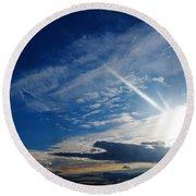 Iridiscent Clouds Round Beach Towel