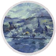 Afternoon On Lake Lucerne Round Beach Towel