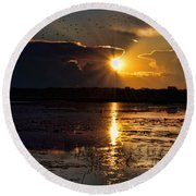 Late Afternoon Reflection Round Beach Towel