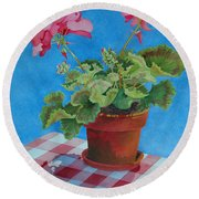 Afternoon Shadows Round Beach Towel by Mary Ellen Mueller Legault