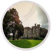 Afternoon Sun Over Markree Castle Round Beach Towel