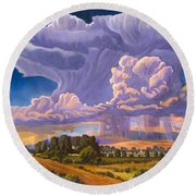 Afternoon Thunder Round Beach Towel by Art James West
