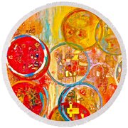 Against The Rain Abstract Orange Round Beach Towel
