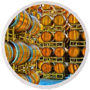 Aging Wine Barrels Round Beach Towel by Richard J Cassato