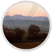 Agricultural Field With A Mountain Round Beach Towel