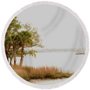 Aground At The Marsh Round Beach Towel by Gary Smith