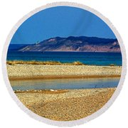 Ahhh Michigan Round Beach Towel by Desiree Paquette