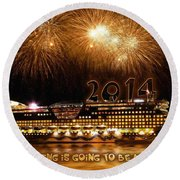 Round Beach Towel featuring the photograph Aida Cruise Ship 2014 New Year's Day New Year's Eve by Paul Fearn