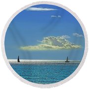 Round Beach Towel featuring the photograph Air Beautiful Beauty Blue Calm Cloud Cloudy Day by Paul Fearn