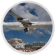 Air France Landing At St. Maarten Round Beach Towel by David Gleeson