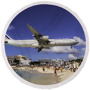 Air France St. Maarten Landing Round Beach Towel by David Gleeson