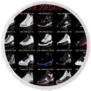 Air Jordan Shoe Gallery Round Beach Towel by Brian Reaves