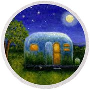 Round Beach Towel featuring the painting Airstream Camper Under The Stars by Sandra Estes