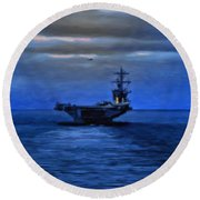 Aircraft Carrier Round Beach Towel