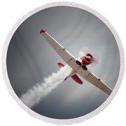 Aircraft In Flight Round Beach Towel