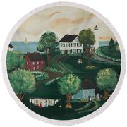 Round Beach Towel featuring the painting Airing Out The Quilts by Virginia Coyle