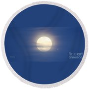 Airplane Flying Into Full Moon Round Beach Towel