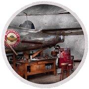 Airplane - The Repair Hanger  Round Beach Towel by Mike Savad