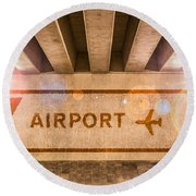 Airport Directions Round Beach Towel by Semmick Photo