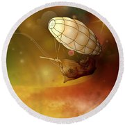 Airship Ethereal Journey Round Beach Towel