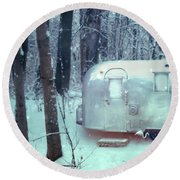 Airstream Trailer In Snowy Woods Round Beach Towel