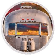 Airstream Travel Trailer Camping Sunset Window View Round Beach Towel