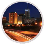 D1u-140 Akron Ohio Night Skyline Photo Round Beach Towel