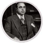Al Capone - Scarface Round Beach Towel by Doc Braham
