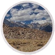 Alabama Hills And Eastern Sierra Nevada Mountains Round Beach Towel by Peggy Hughes