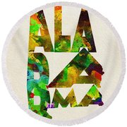 Alabama Typographic Watercolor Map Round Beach Towel