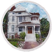 Alameda 1897 - Queen Anne Round Beach Towel by Linda Weinstock