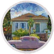 Alameda 1908 House 1950 Pink Dodge Round Beach Towel by Linda Weinstock