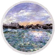 Alameda High Street Bridge  Round Beach Towel by Linda Weinstock