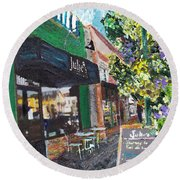 Alameda Julie's Coffee N Tea Garden Round Beach Towel by Linda Weinstock