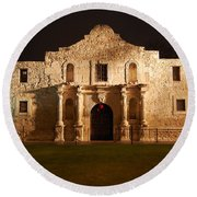 Alamo Mission Entrance Front Profile At Night In San Antonio Texas Round Beach Towel