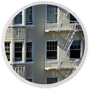 Round Beach Towel featuring the photograph Alamo Square San Francisco by Steven Richman