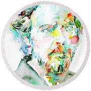 Alan Watts Watercolor Portrait Round Beach Towel by Fabrizio Cassetta