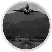 Alaska Airlines Palm Springs Takeoff Round Beach Towel